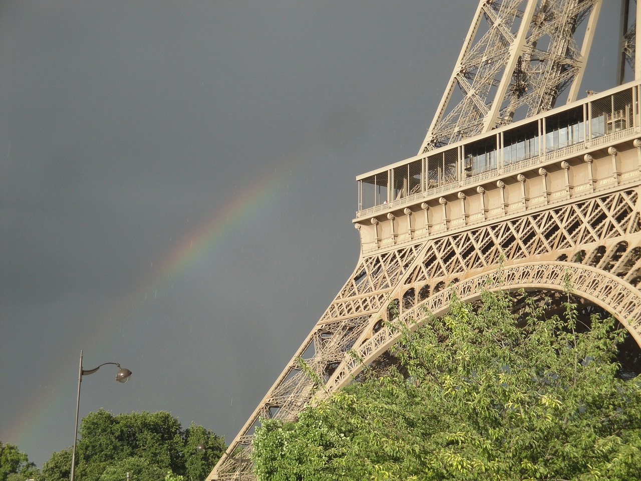 eiffel tower,paris,eiffel,iron,france,rainbow,monument,tower,storm,sky,free pictures, free photos, free images, royalty free, free illustrations, public domain