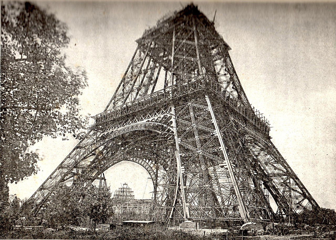eiffel tower under construction july 1888 paris free photo