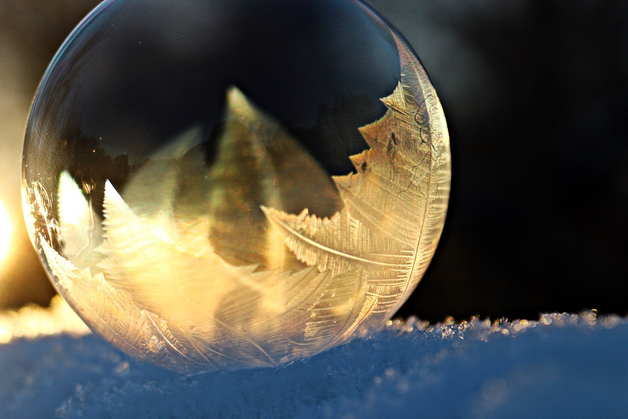 eiskristalle soap bubble frost free photo