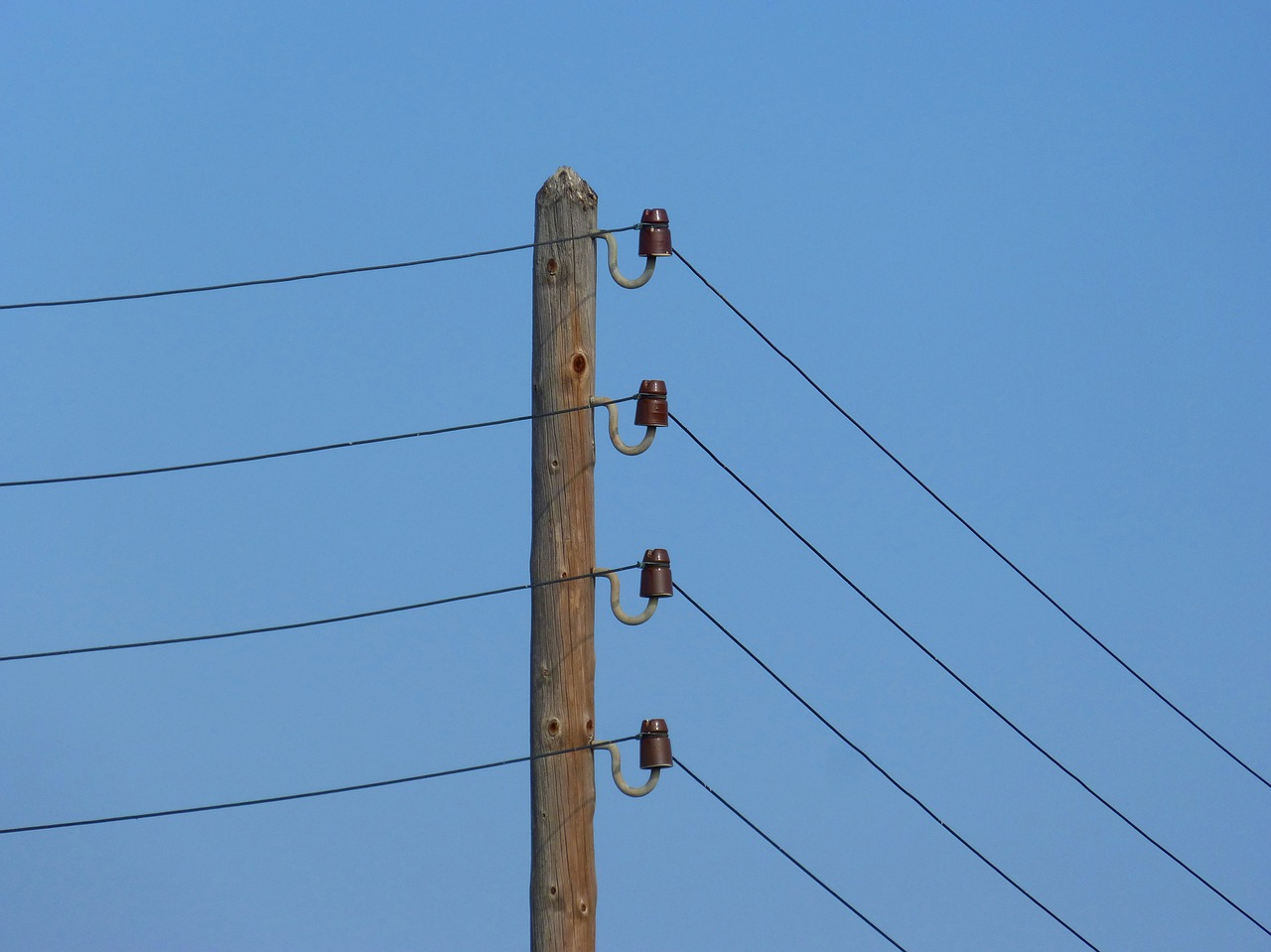 electric pole power line insulators free photo