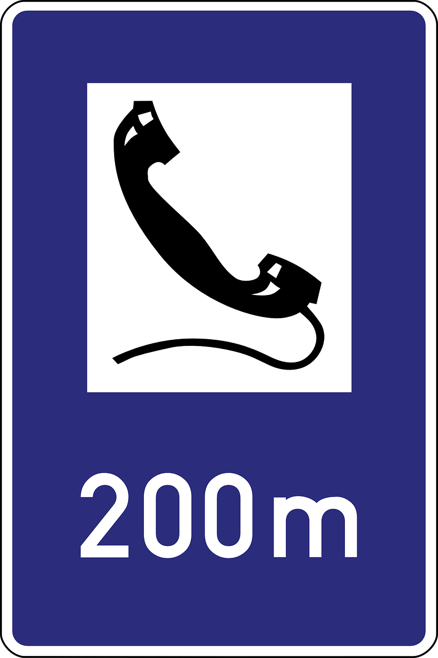 emergency telephone road sign symbol free photo