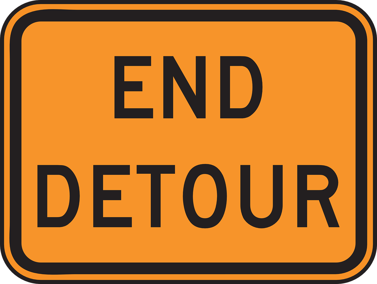 end detour sign free photo