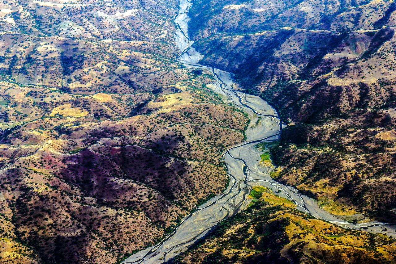 ethiopia river landscape aerial view free photo