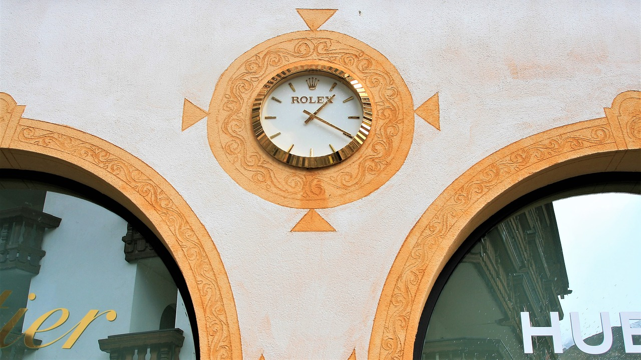 facade frescoes clock free photo
