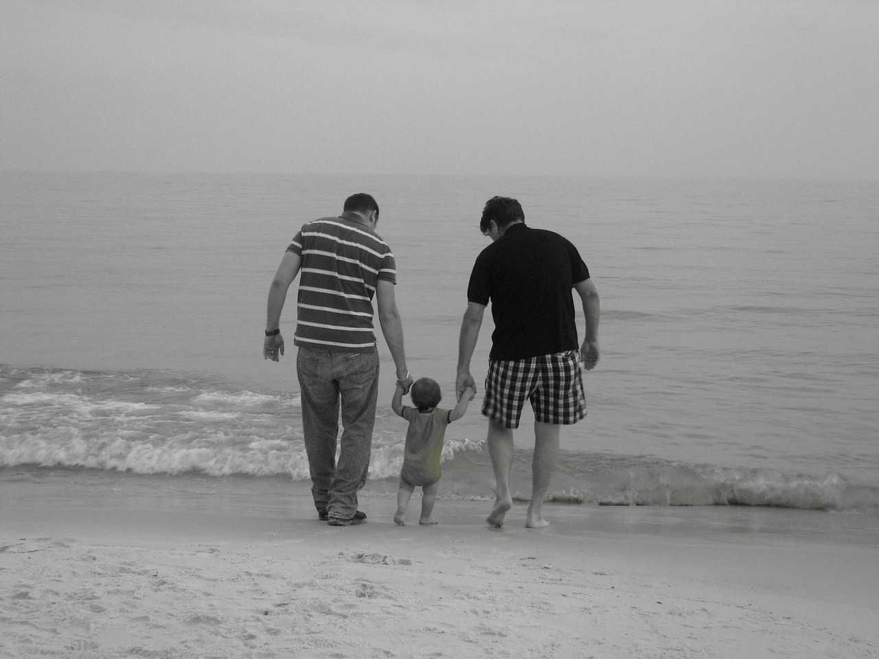 family father beach free photo