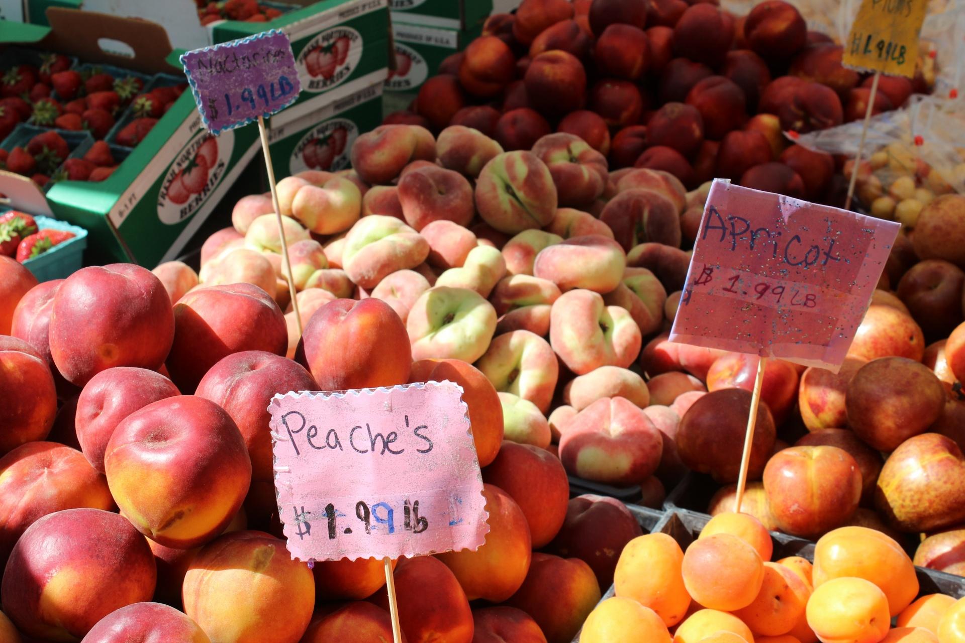 Apricots Peaches Fresh Farmers Nbsp Market Background Free