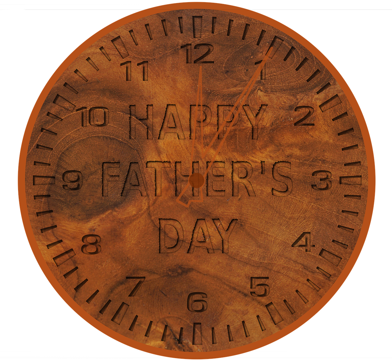 father's day clock  wood grain  wood free photo