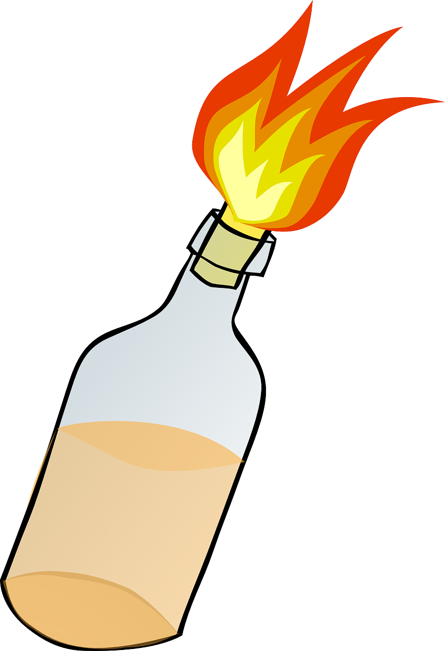 fire,bottle,bomb,molotov,riot,petrol,petrol bomb,flames,burning,free vector graphics,free pictures, free photos, free images, royalty free, free illustrations, public domain