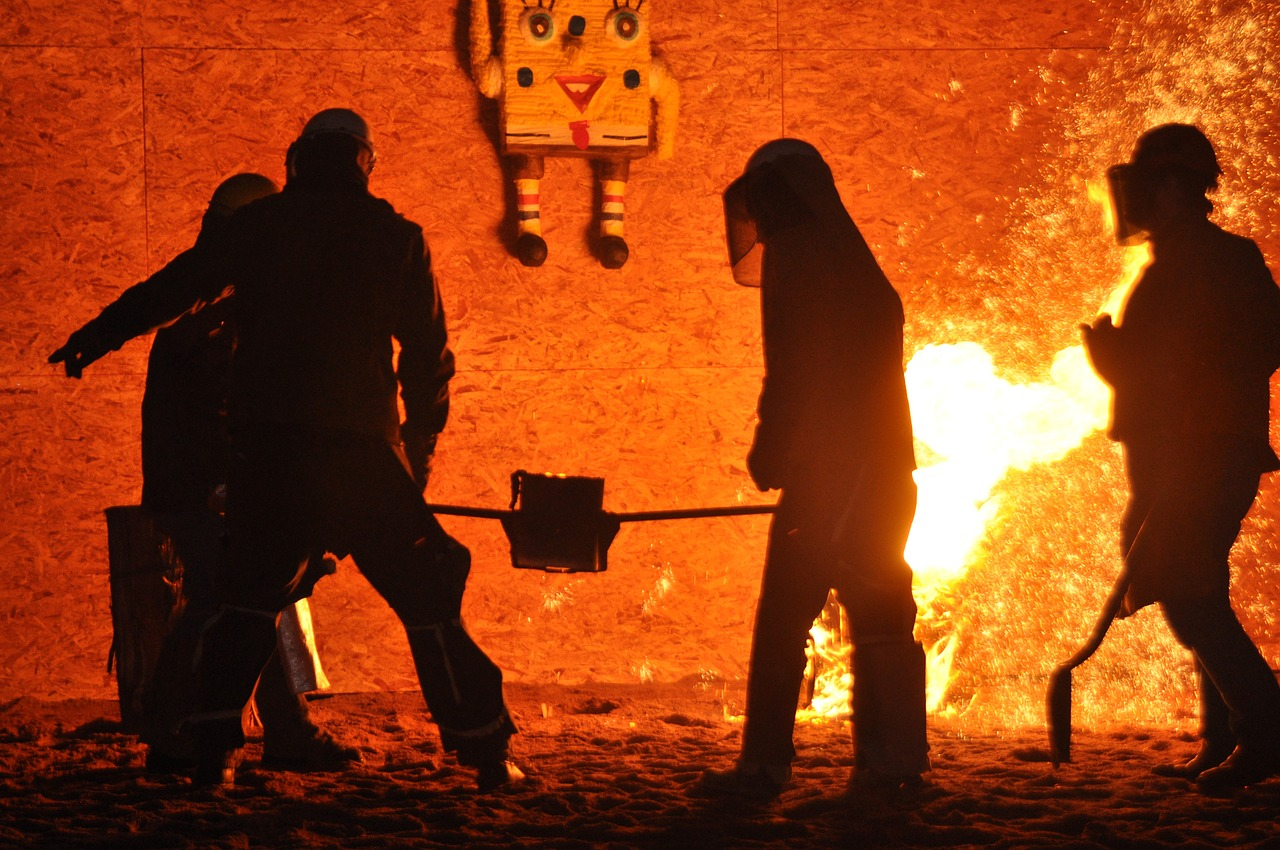 fire molten metal metallurgy free photo