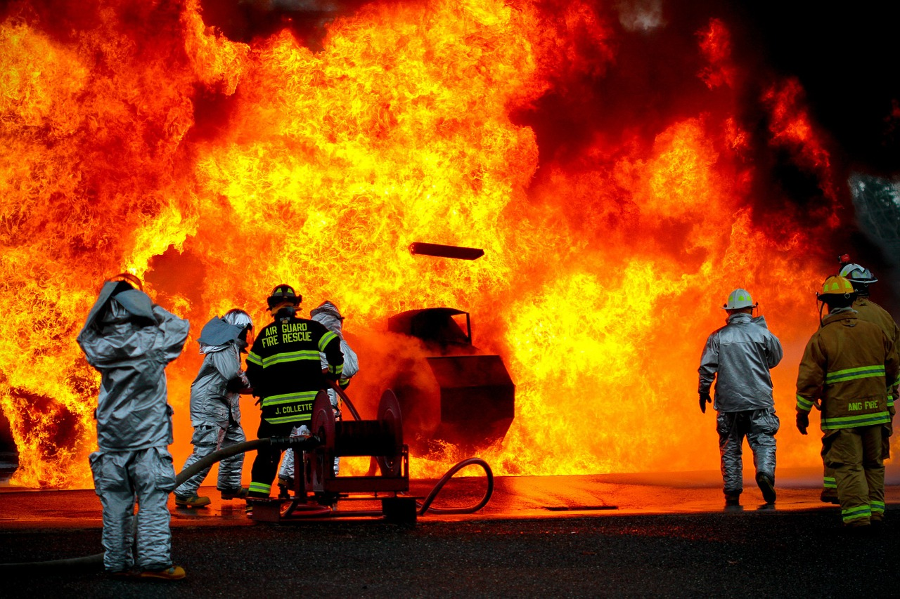 Firefighters,training,live,fire,silhouette - free photo from