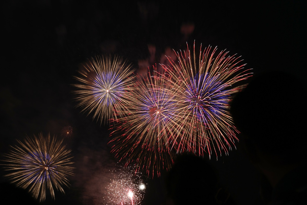 fireworks white red free photo