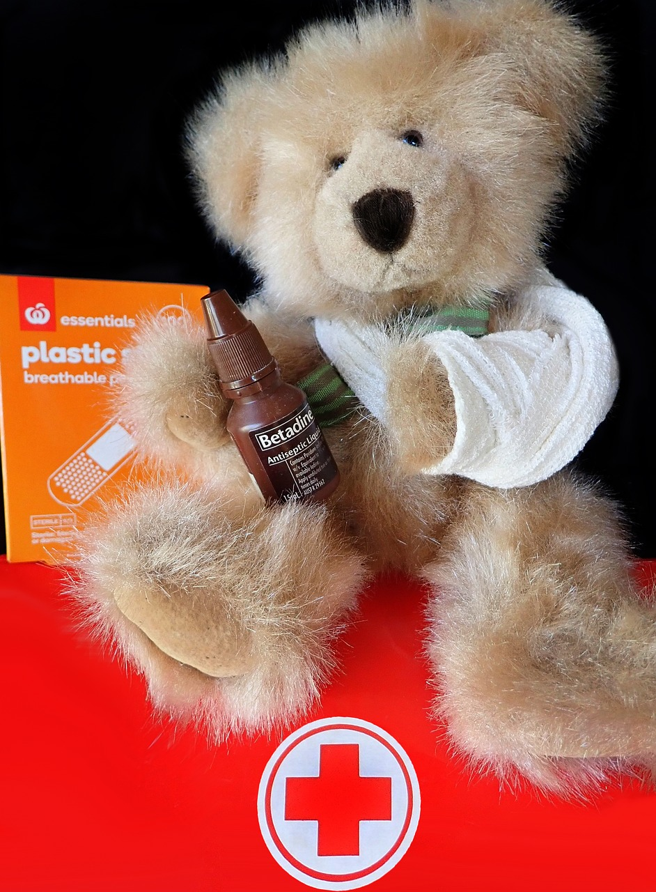 first aid  teddy  injury free photo