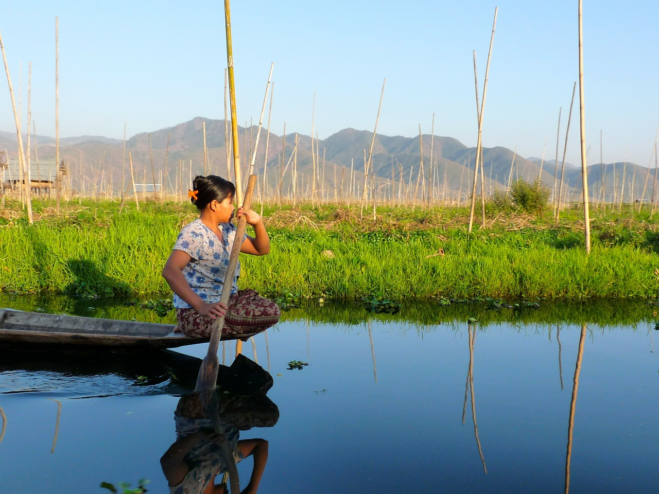 fisherman inle lake burma free photo
