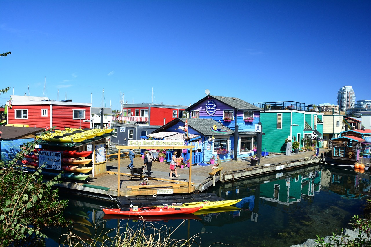 Colourful houseboats and floating homes in Fisherman's Wharf, Victoria, British Columbia.