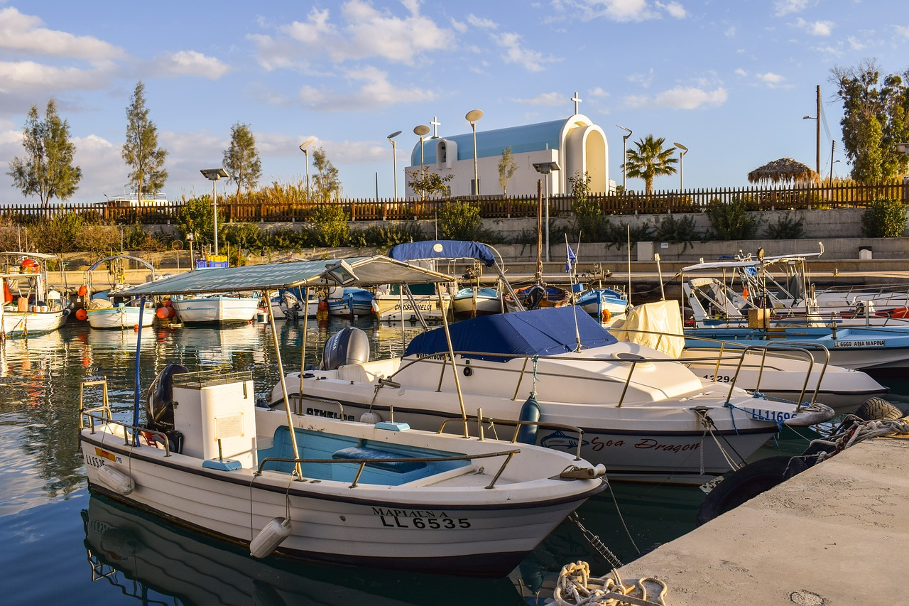 fishing harbor boats church free photo