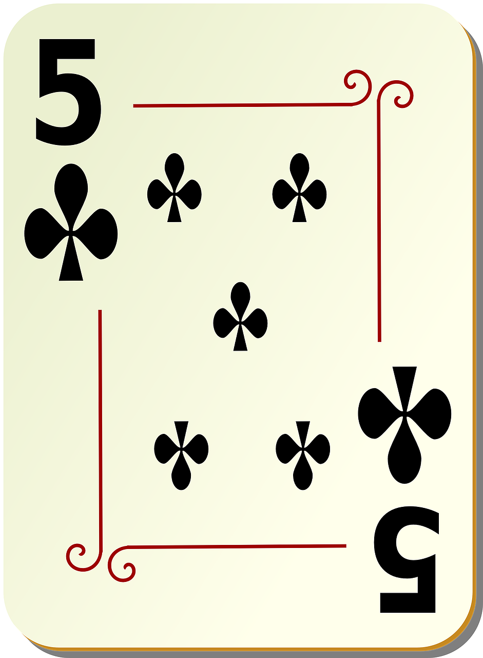 five clubs playing cards free photo