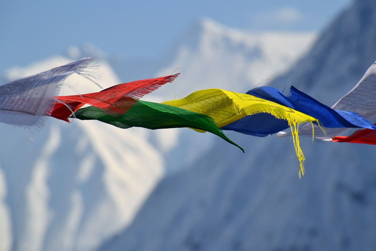 tibetan prayer flags flags color free photo