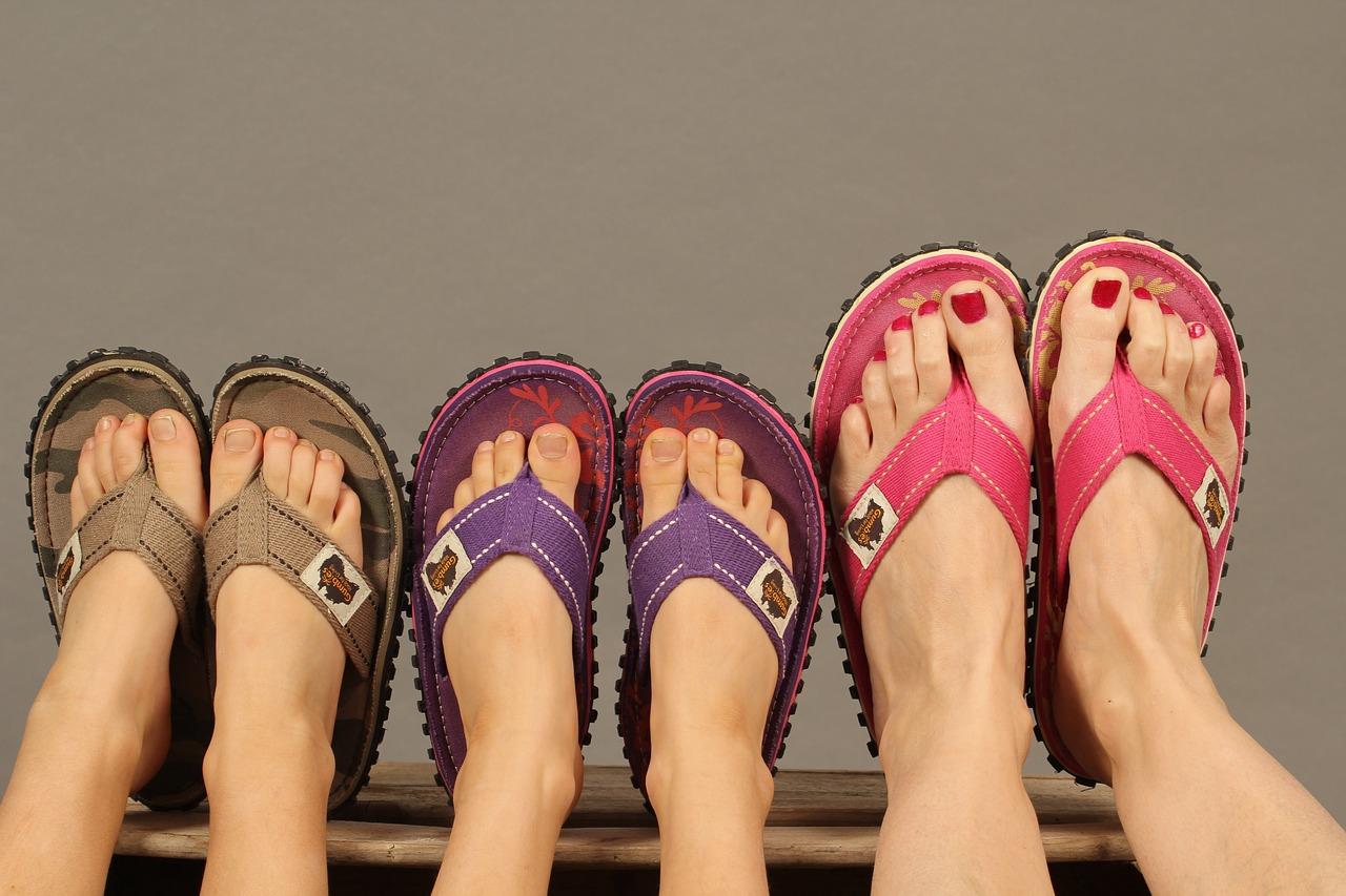 Glitzy flip flops
