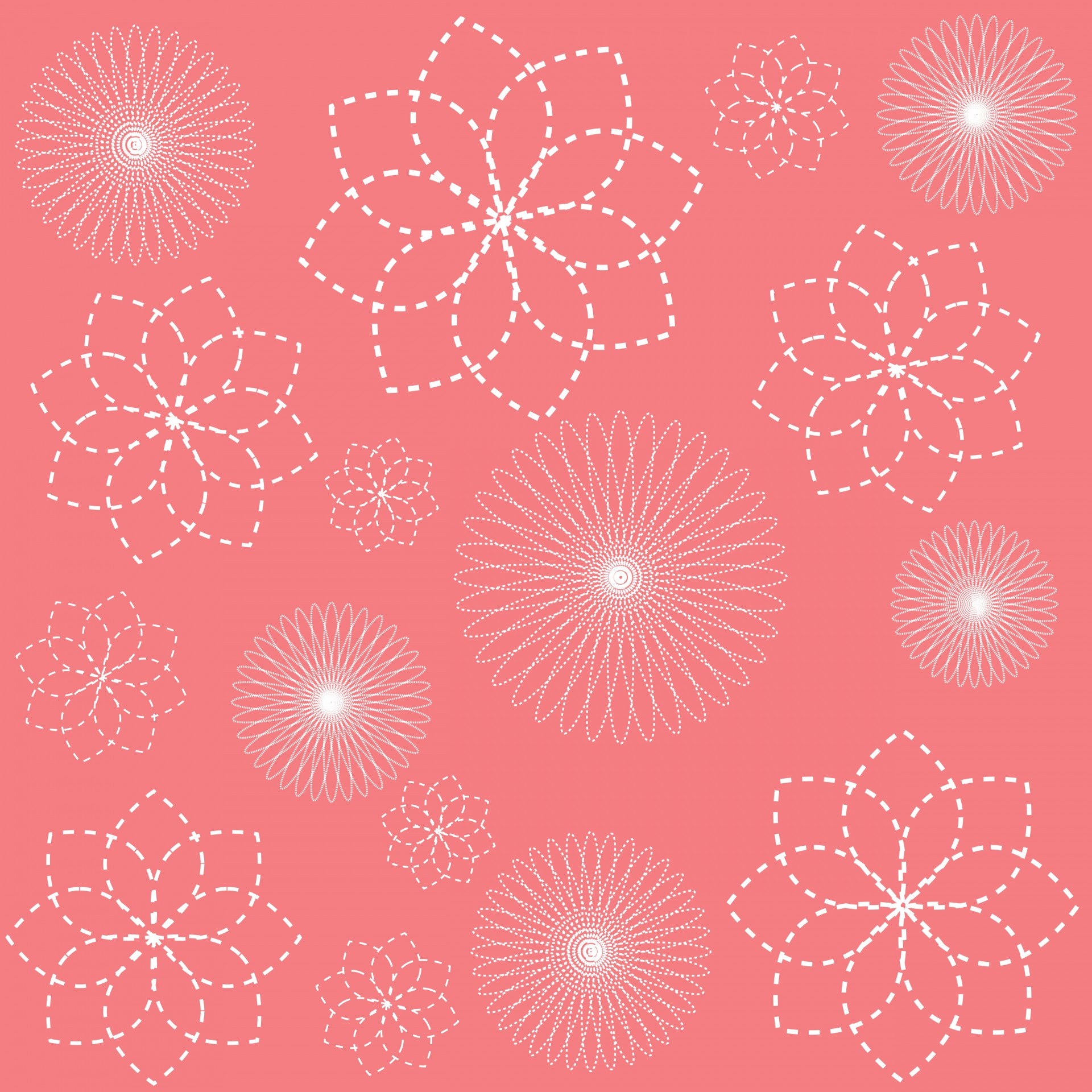 Floral Spirals Spirograph Coral Wallpaper Free Image From