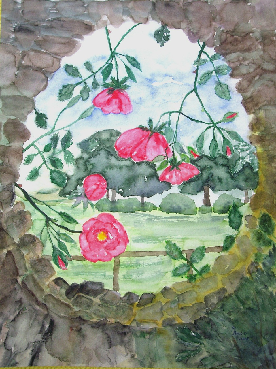 flowers roses painting free photo