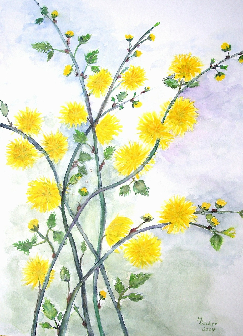 flowers branches painting free photo