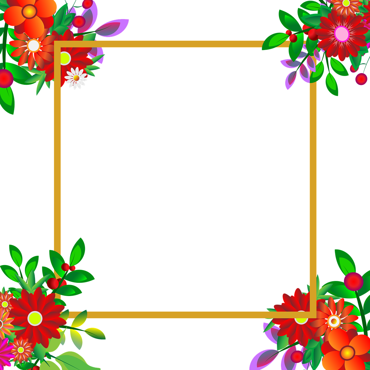 Flowers,photo frame,transparent background,for design,photoshop