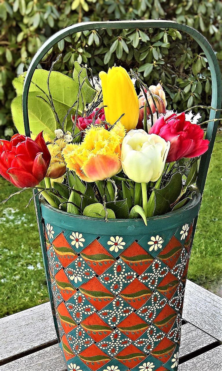 Flowerswood Baskettulip Bouquetspringcolorful Tulips Free
