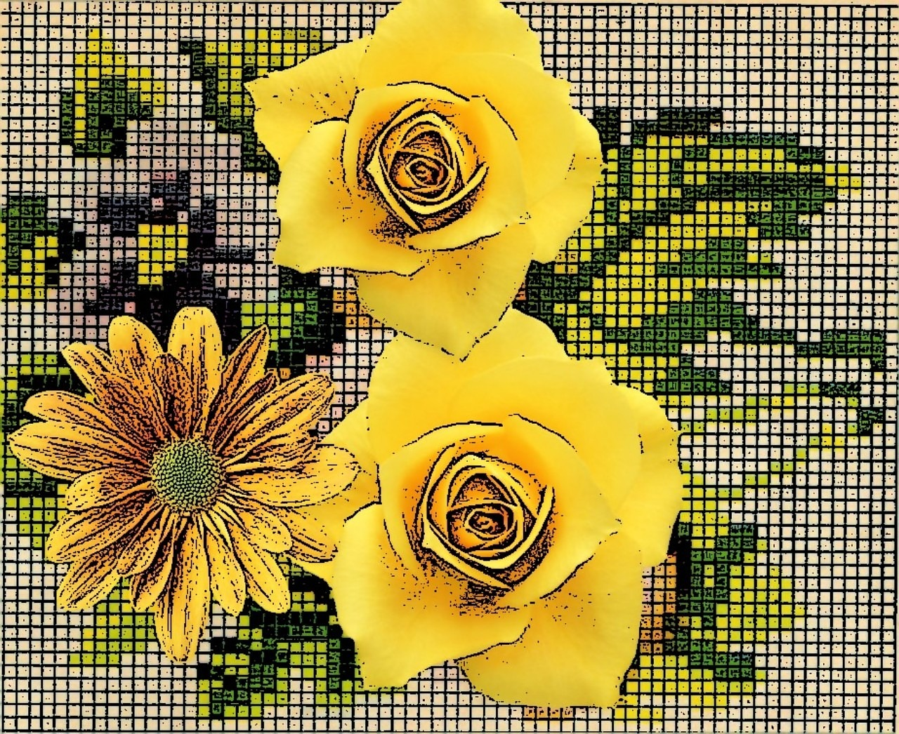 flowers yellow risk of embroidery free photo