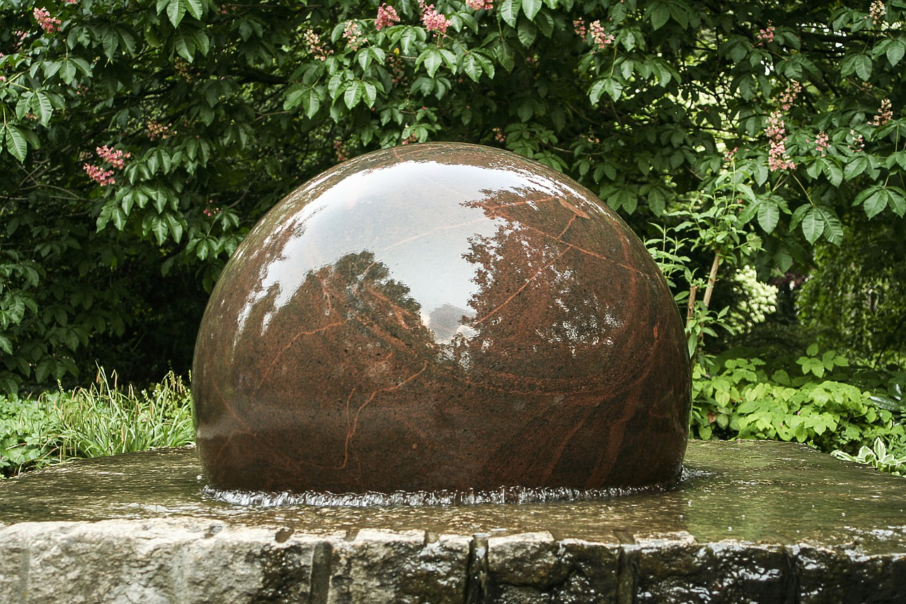 fountain decorative fountains stone ball free photo