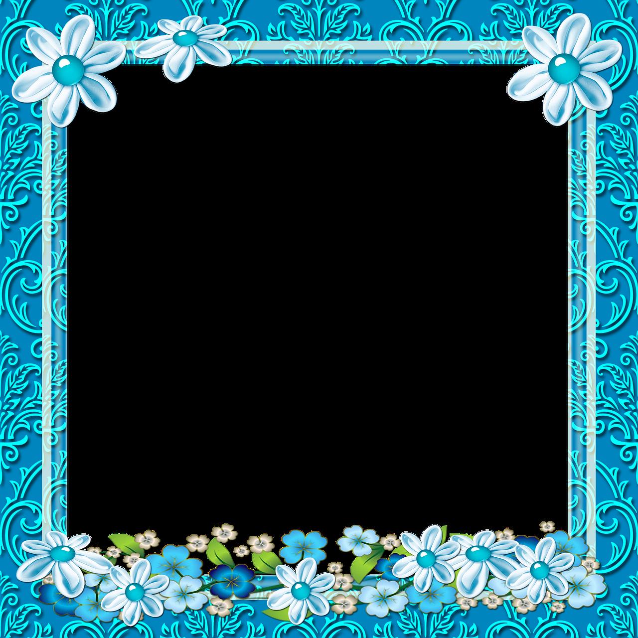 Frame photo,framework,celeste,frame floral,transparent background ...