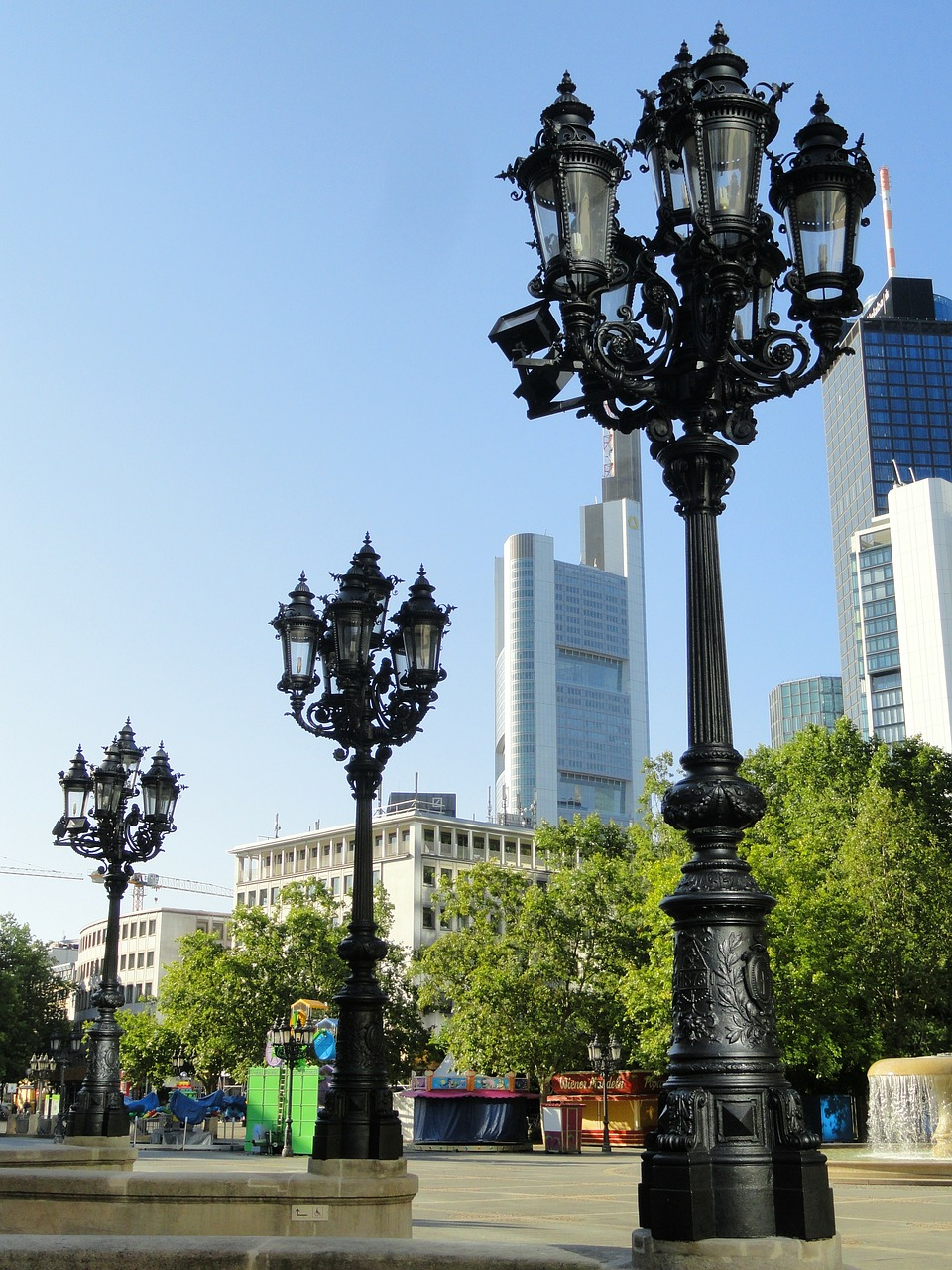 frankfurt germany lamp posts free photo