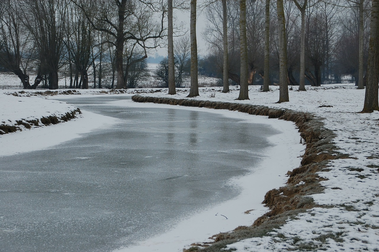 frozen river river nature free photo