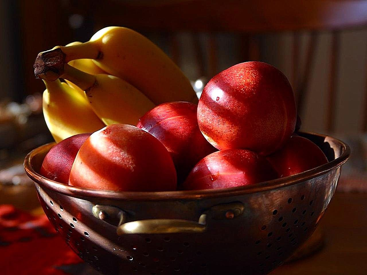 fruit bowl apple bananas free photo