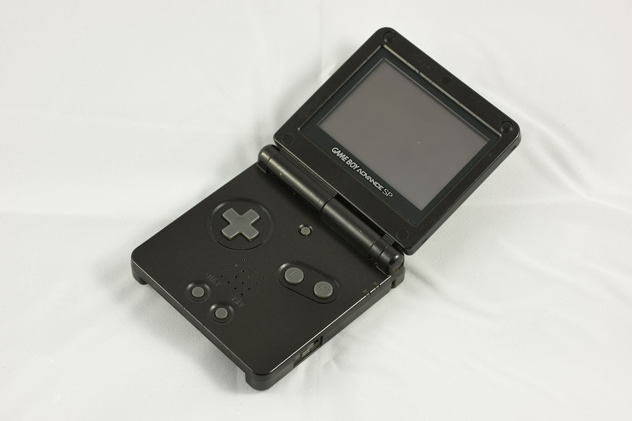gameboy advance sp,nintendo,video game,handheld,console,game system,black,portable,mobile,technology,entertainment,gaming,system,videogame,hobby,free pictures, free photos, free images, royalty free, free illustrations