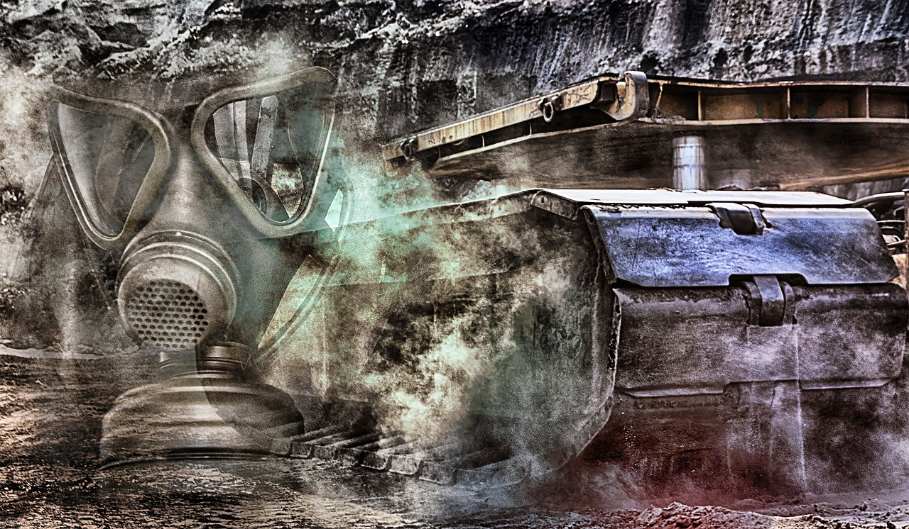 gas mask, bulldozer, brown coal, energy, industrial plant, open pit mining, mining, technology, excavators, pollution,free pictures, free photos, free images, royalty free, free illustrations, public domain