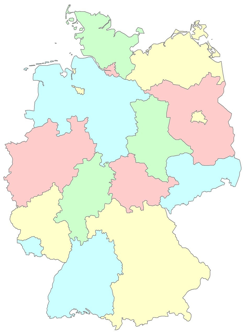 Regions Of Germany Map.Germany Lander Regions Germany Germany Map Germany All Provinces