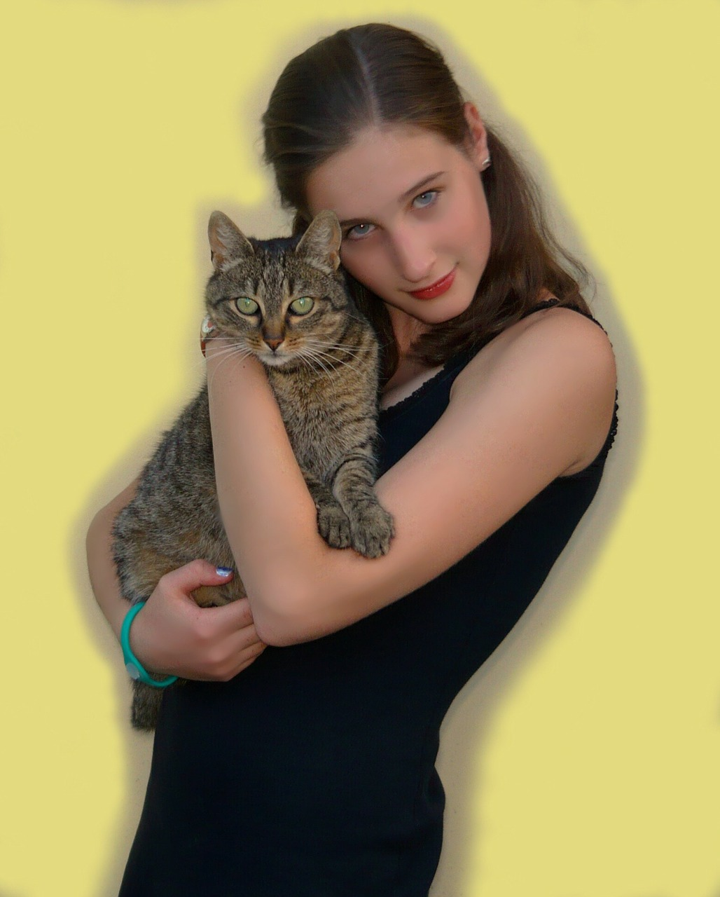 girl cat person free photo