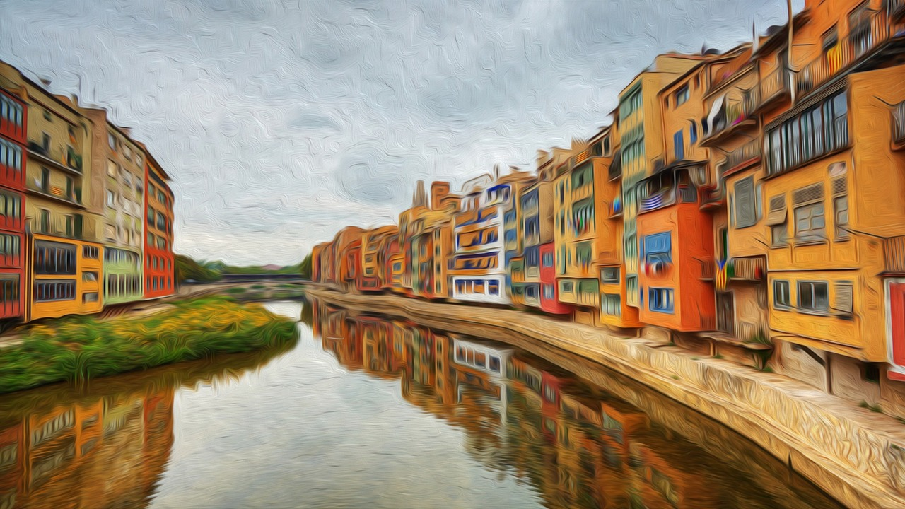 Girona,painting,city colors,free pictures, free photos - free ...