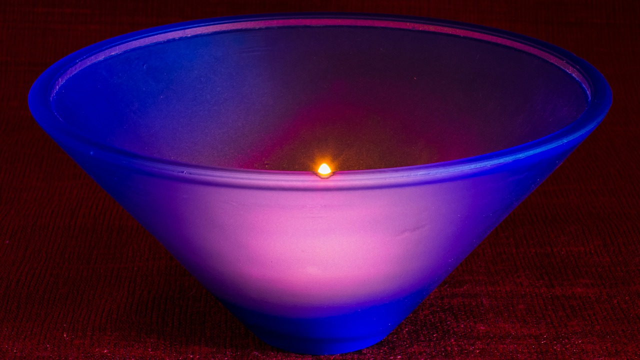 glass bowl blue illuminated from the inside free photo