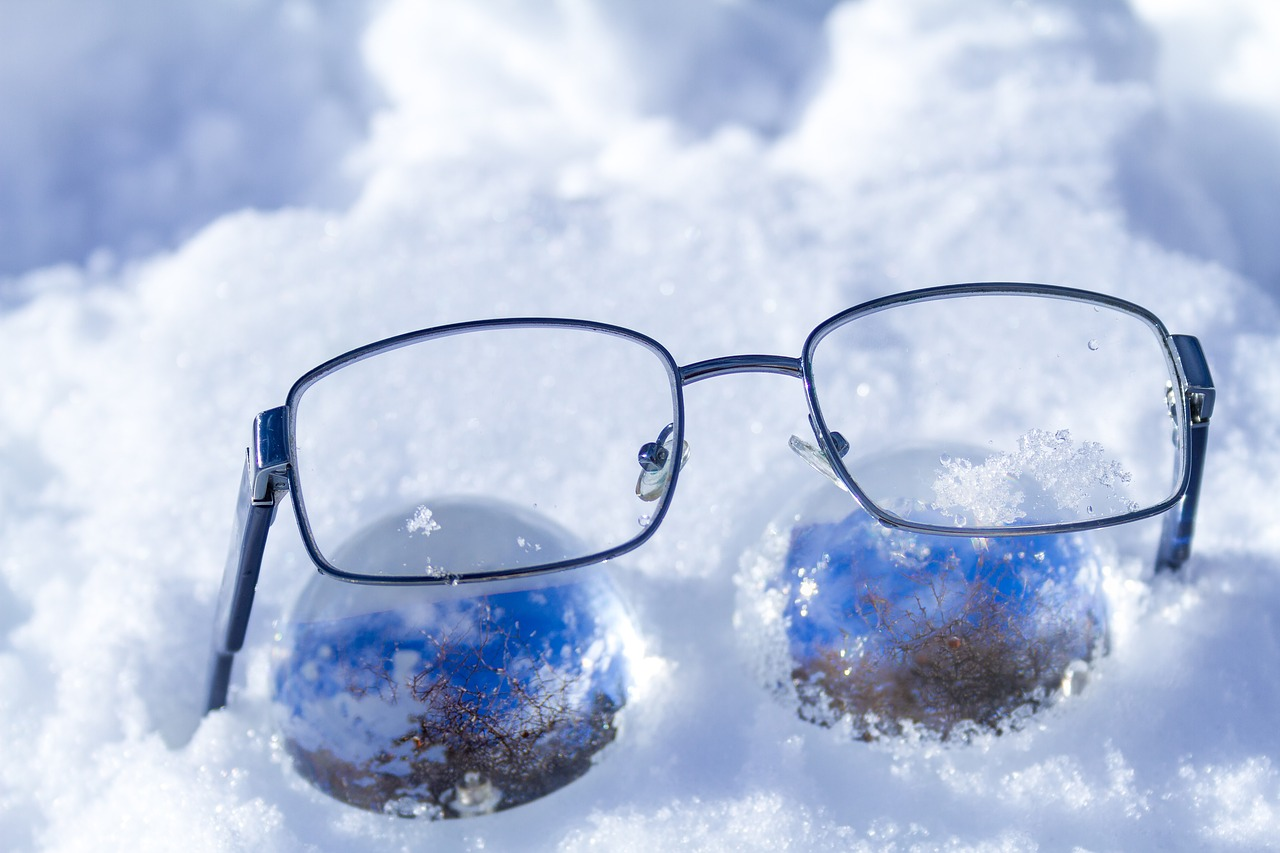 glasses snow glass ball free photo