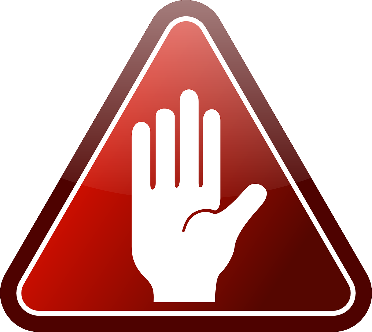 glossy,hand,red,stop,triangle,warning,white,free vector graphics,free pictures, free photos, free images, royalty free, free illustrations, public domain