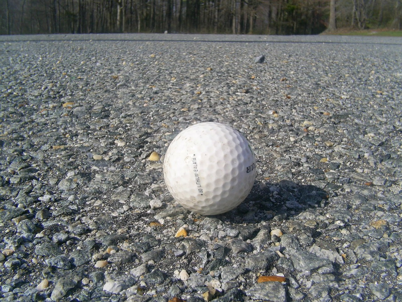 golf ball road asphalt free photo
