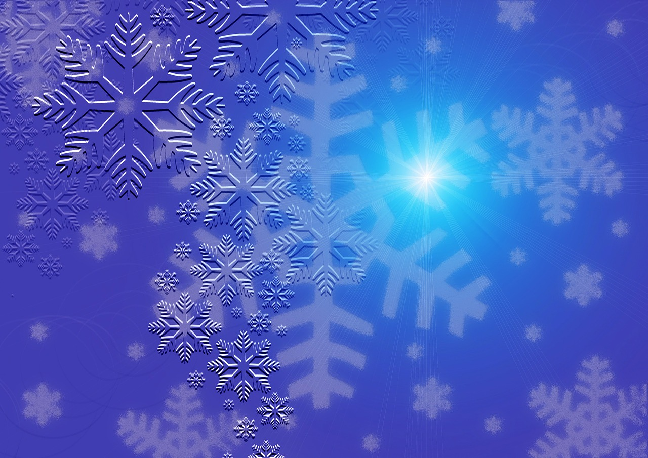 greeting card blue snowflakes free photo