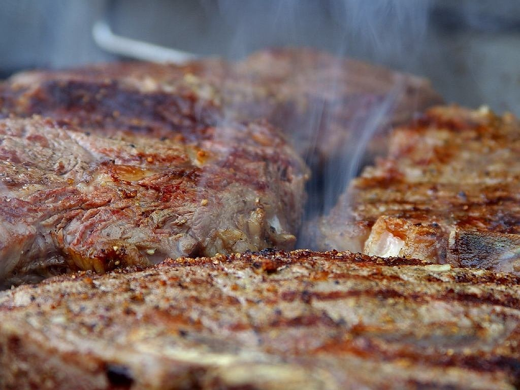 grilling steaks steak meat free photo