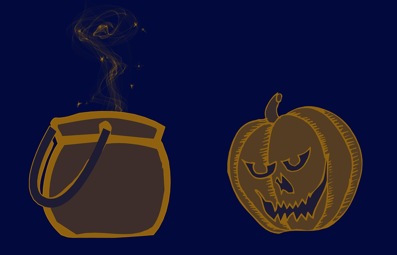 haloween,trick or treat,pumpkin,bowl,background,card,funny,cartoon,blue,orange,free pictures, free photos, free images, royalty free, free illustrations, public domain