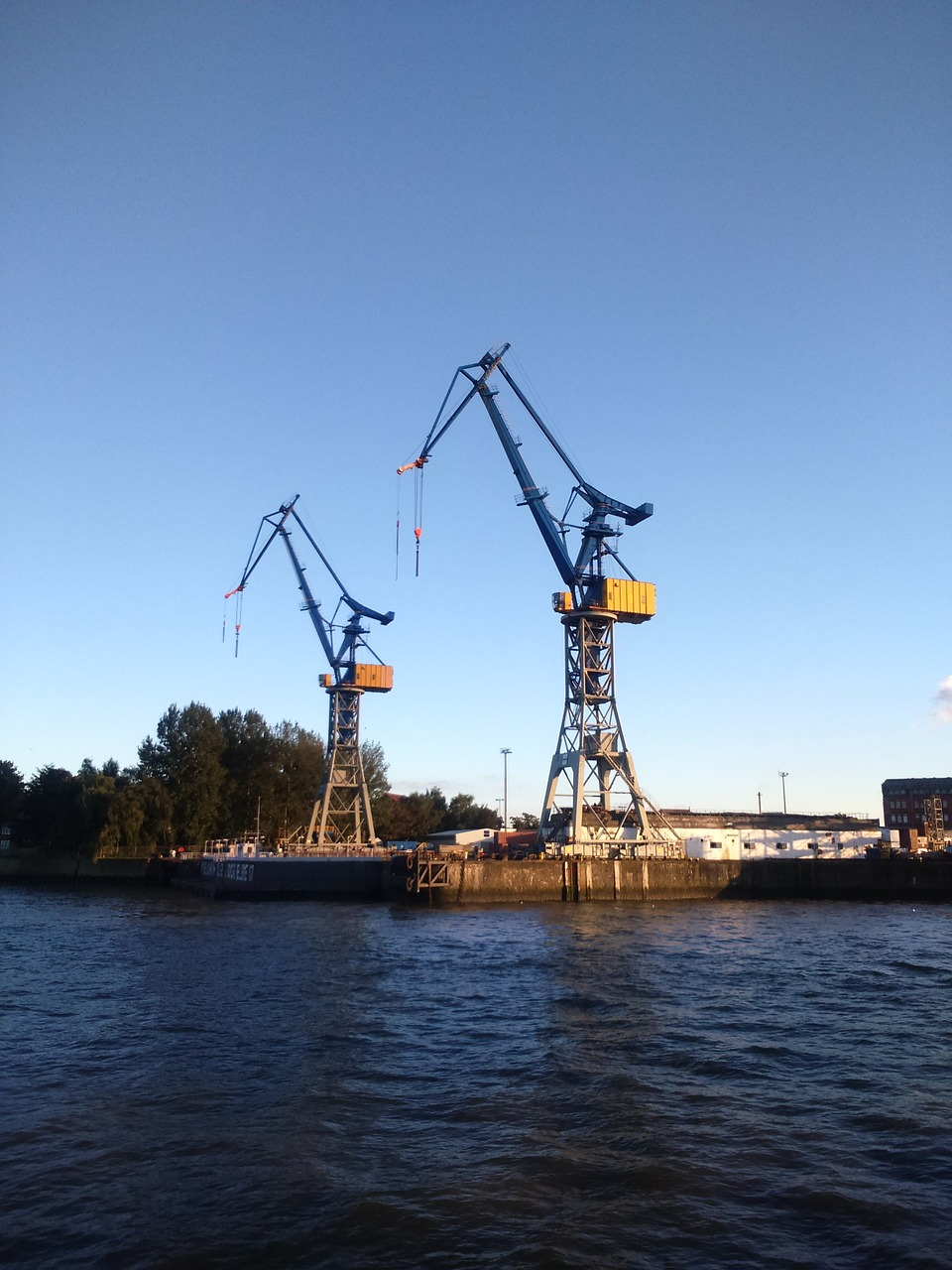 hamburg port cranes free photo