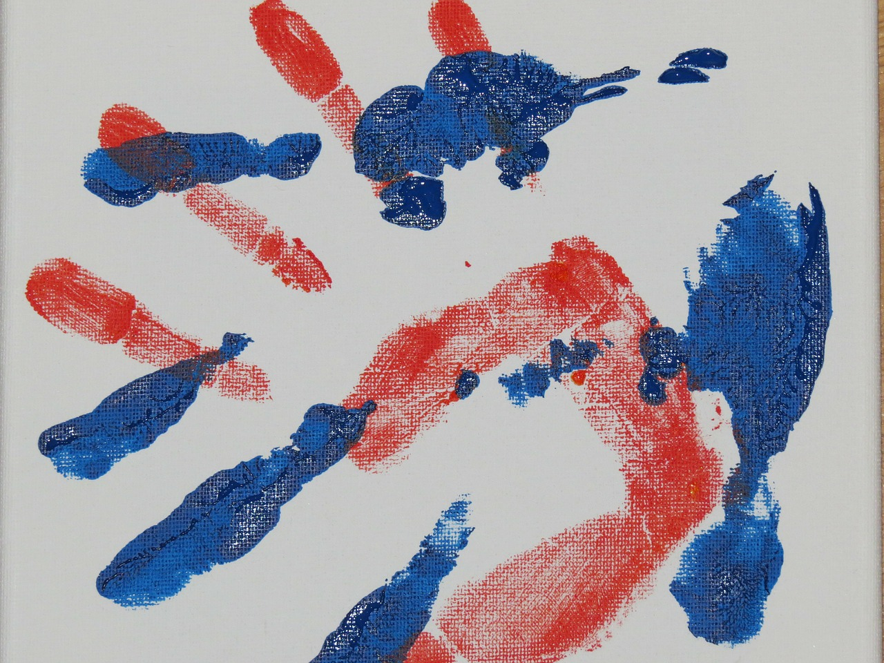 hand,handprint,finger paints,watercolor,reprint,red,blue,children,image,paint,color,colorful,art,paper,free pictures, free photos, free images, royalty free, free illustrations, public domain