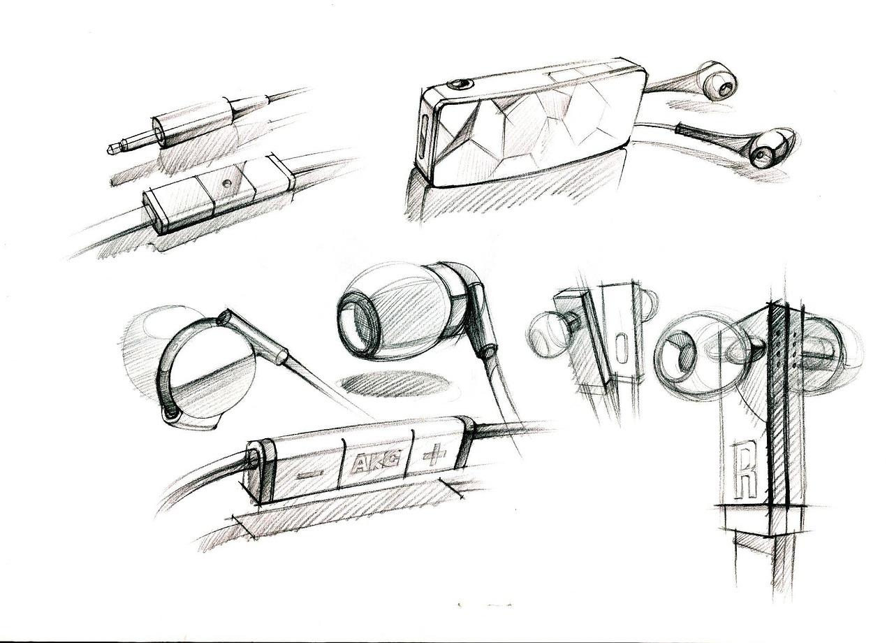 Hand paintedheadphonesproductsportablepencilpaintingsketch