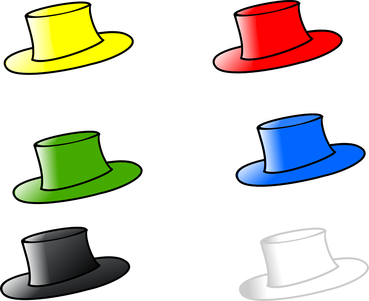 hat,six,hats,head,wear,fashion,red,black,blue,yellow,green,white,free vector graphics,free pictures, free photos, free images, royalty free, free illustrations, public domain