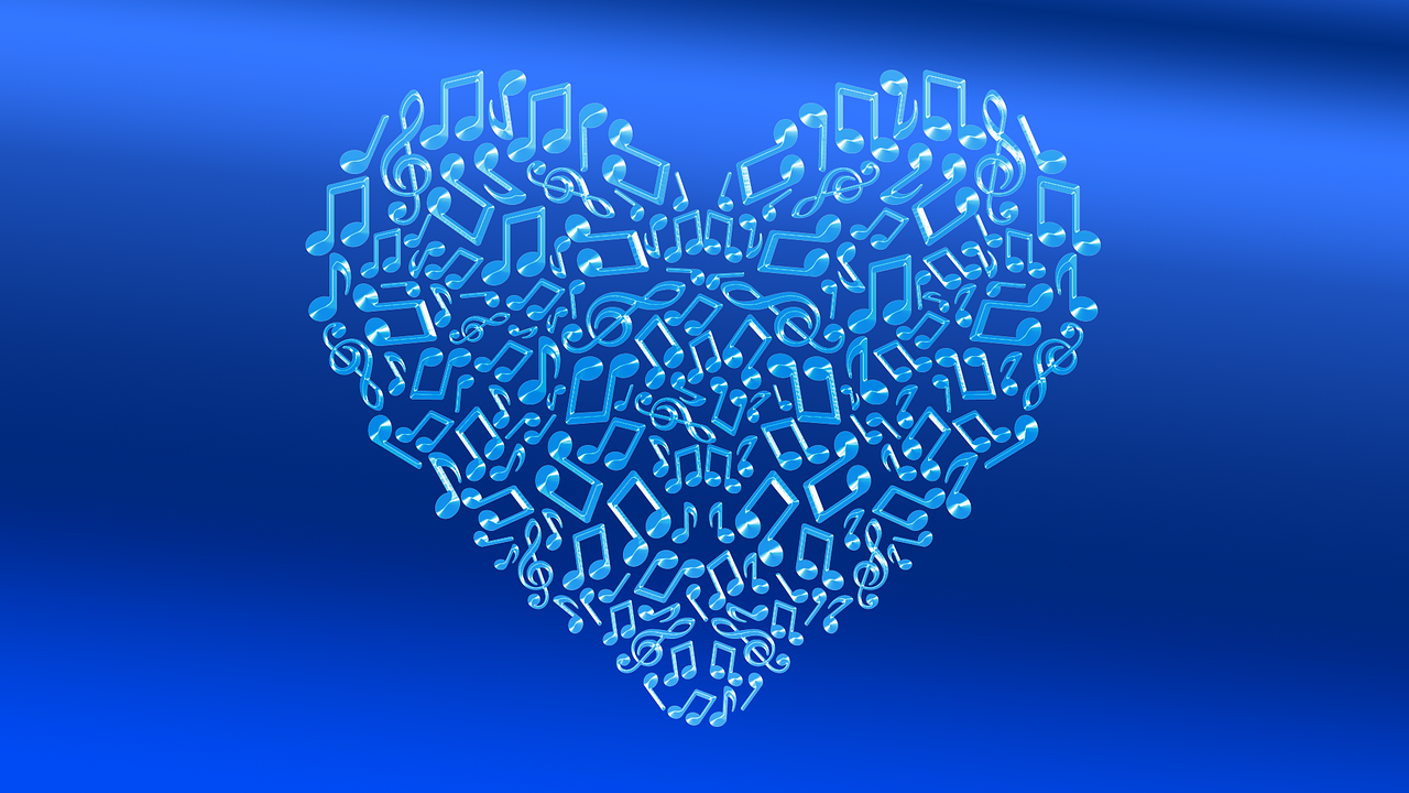 Download free photo of Heart,blue,emotions,music,valentine
